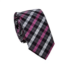 Black and Magenta Tartan Slim Tie
