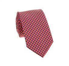 Red and Blue Vichy Checked Slim Tie