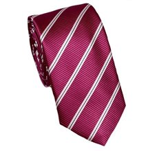 Magenta Slim Tie with Stripes