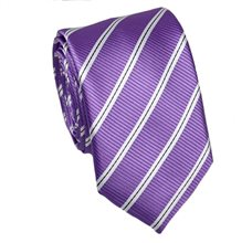 Mallow Slim Tie with Stripes
