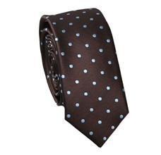 Brown Slim Tie with Blue Sky Dots