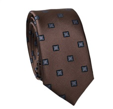 Brown Slim Tie with Blue Design
