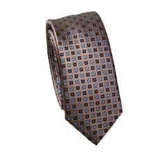 Brown Slim Tie with Blue Clover