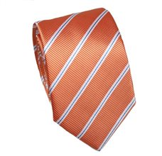 Orange Slim Tie with Stripes