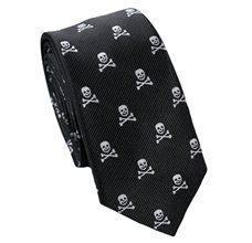 Black Slim Tie with Skulls