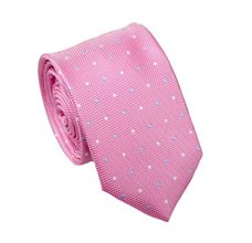 Pink Slim Tie with Dots