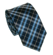Blue and Light Blue Tartan Skinny Silk Tie