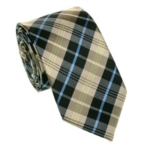 Black and Beige Tartan Skinny Silk Tie