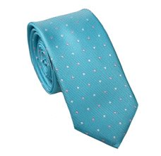 Turquoise Blue Slim Tie with Dots