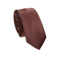 Dark Brown Slim Tie and Pocket Square