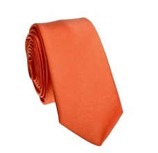 Orange Slim Tie and Pocket Square