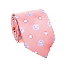 Fuchsia Natural Silk Tie with Blue Flowers