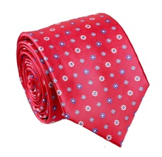 Fuchsia Natural Silk Tie with Daisies