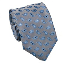 Grey Tie with Blue Paisley
