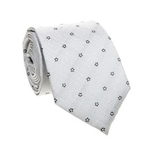 Grey Natural Silk Tie with Flowers