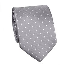 Grey Tie with White Dots