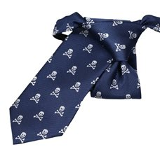 Blue Boy's Tie with Grey Skulls