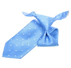 Sky Blue Boy's Tie with White Dots