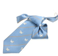 Sky Blue Boy's Tie with White Cats