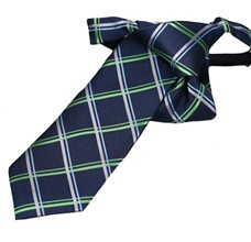 Blue Boy's Tie with Green Square