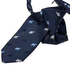 Dark Blue Boy's Tie with Elephants