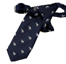 Dark Blue Boy's Tie with White Elephants