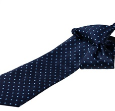 Dark Blue Boy's Tie with Blue Dots