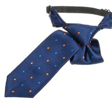 Dark Blue Boy's Tie with Orange Dots