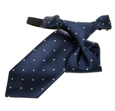 Navy Blue Boy's Tie with White Dots