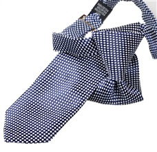 Dark Blue Boy's Tie with White Dots