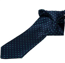 Dark Blue Boy's Tie with Green Dots