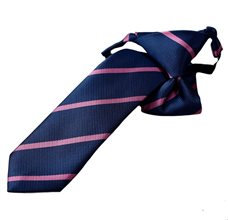 Blue Boy's Tie with Pink Stripes