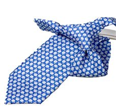 Royal Blue Boy's Tie with White Elephants