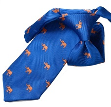 Royal Blue Boy's Tie with Orange Elephants