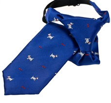 Royal Blue Boy's Tie with White Dogs