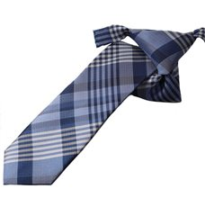 Blue Boy's Tie with Checkered