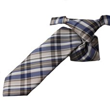 Beige and Blue Boy's Tie with Checkered