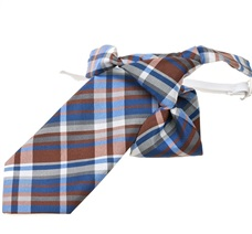Tartan Brown and Blue Boy's Tie