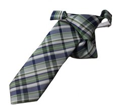 Green Boy's Tie with Checkered