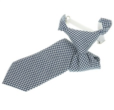 Deep Blue Vichy-Check Boy's Tie