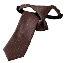 Brown Boy's Tie with White Dots