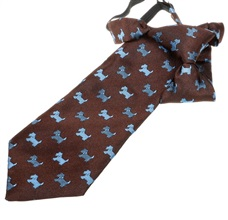 Brown Boy's Tie with Blue Schnauzer