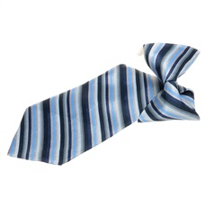 Dark Blue and Grey Stripes Boy's Tie