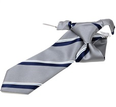 Blue and Grey Stripes Boy's Tie