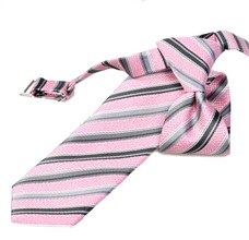 Pink and Grey Stripes Boy's Tie