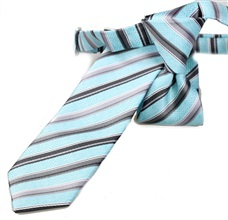 Turquoise and Grey Stripes Boy's Tie