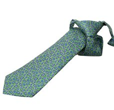 Green Silk Boy's Tie with Paisley