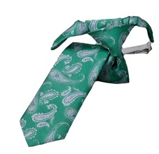 Green Boy's Tie with Paisley