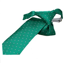 Green Boy's Tie with White Dots