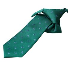 Green Boy's Tie with Blue Paisley